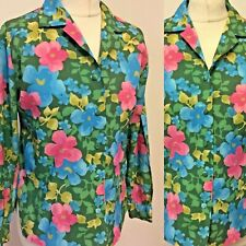 Vintage Blouse Size 14 1960s  Flower Power Floral Funky Long Sleeve