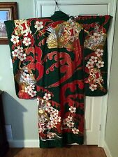 Green, Gold & Red Japanese Kimono with Embroidered Cranes,  Flowers, and Fans