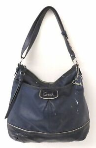Coach Park F19739 Perforated C Blue Leather Elevated Duffle Purse
