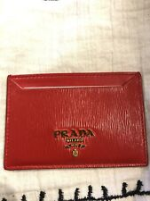 NEW RED PRADA LEATHER CREDIT CARD HOLDER AND SNAKESKIN KEYCHAIN BUNDLE