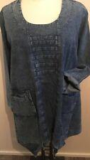LA BASS Jeans-Tunika blau stone Gr 50-54 (3) Lagenlook Taschen BIESEN Zipfelig
