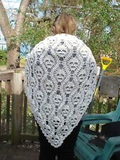 Hand made Crochet shawl Lost Soul Skull cream w/ confetti of blue red & yellow
