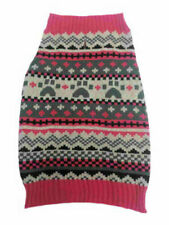 "Dog Sweater Pink multi pattern paw retro Medium 17 to 22"" inches neck to tail"