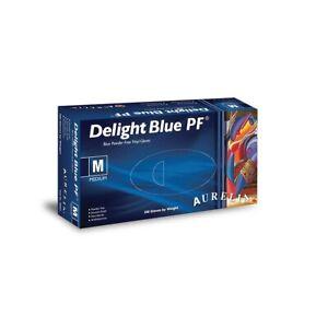Delight Blue PF Powder Free Vinyl Gloves Large 38998