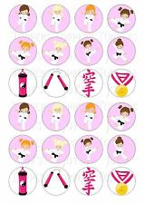 24 Karate Girl Chicas Cupcake Toppers Helado Glaseado Hada Pastel Bollo Toppers