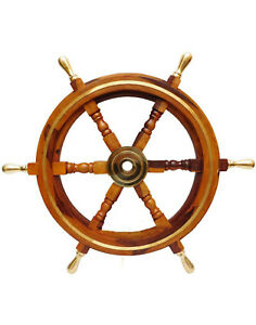"24"" Nautical Brass Ring Wooden Ship Steering Wheel Brass Handle Vintage Home Dec"