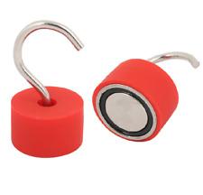 2x Super Magnetic Hooks 45mm 110Lbs 50kg   Silica gel coat Neodymium Hook Magnet