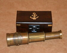 "Antique vintage maritime brass 6"" telescope royal navy spyglass with wooden box"