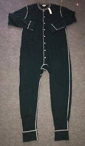 NWT J Crew Mens Retro Forest Green Union Suit Pajamas One Piece Sz L/XL FREESHIP