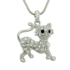 W Swarovski Crystal Kitten Cat AB and Clear Cute Pet New Pendant Necklace