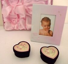 "BABY GIRL KEEPSAKE ""FIRST CURL, FIRST TOOTH & FRAME"" SET IN PINK SATIN LINED BOX"