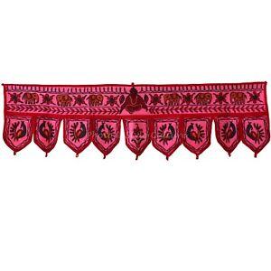 "36"" Cotton Handmade Door Hanging Toran Vintage Embroidered Patchwork Topper"