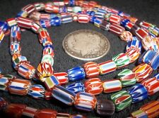 LONG FOUR FOOT STRAND OLD CHEVRON TRADE BEADS NECKLACE AWESOME BEAUTIFUL COLORS