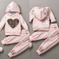 ❤️ Toddler Kids Baby Girls Clothes Hooded Tops Long Pants Tracksuit Outfits Set
