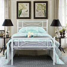 Twin Size Metal Bed Frame Modern Platform Bed Mattress Foundation with Headboard