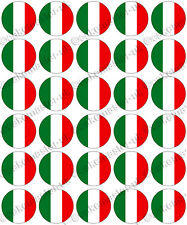 30 x Italian Flags Edible Rice Wafer Paper Cupcake Toppers - Italy