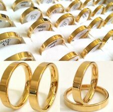 100pcs Gold Stainless Steel Jewelry Size 17-21mm Mix Men Women Band Ring 4mm