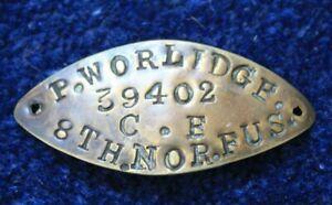 WW1 Brass I.D. Bracelet British Army 8th Northumberland Fusiliers Pvt  Worlidge
