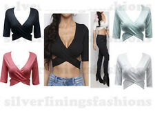 Ladies Celebrity Wrap Over Cross Back 3/4 Sleeve Fitted Plain Crop Bra Top