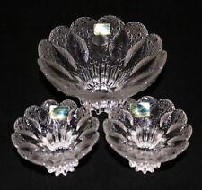 Lausitzer Glass Crystal Bowls Medea Textured Dew Drop & Leaf Set of 3 Germany