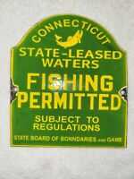 Fishing Permitted Porcelain Sign State Board Of Boundaries Connecticut Wild Game