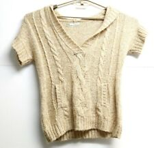 Women's Maurices Tan Light Weight Cardigan Short Sleeve Sweater Size Medium