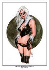 BLACK CAT - Sexy Pin-Up Print by Lady Death Artist ALEX MIRANDA