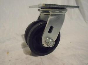 "4"" x 2"" Swivel Caster 7/8""  V-Groove Iron Steel Wheel 600lbs"