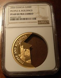 Samoa 2000 Gold 1/2 oz 200 Tala NGC PF69UC People and Buildings