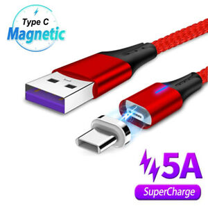 LED Type C Magnetic Charging Cable 5A Super Fast Charger Data Sync USB C Cable