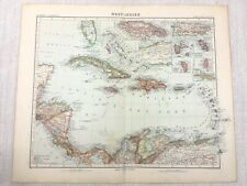 1907 Antique Map of The West Indies St Lucia Jamaica Caribbean Justus Perthes