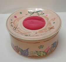 Sewing Tin and Pin Cushion on Top Pink with Designs Ace Atlantic Can Vintage