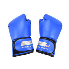 PU Leather Boxing Gloves Sparring Punch Bag Muay Thai Kickboxing Training 3c Blue
