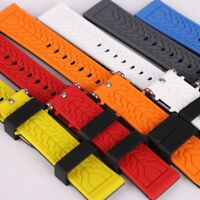 Silicone Men Watch Band Belt Rubber Sport Diver Waterproof Wrist Strap 20mm-26mm