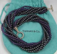 Tiffany & Co Sterling Silver 8 Strand Hematite Amethyst Torsade Toggle Necklace