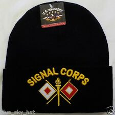 U.S. ARMY SIGNAL CORPS MILITARY BRANCH INSIGNIA WATCH CAP KNIT SKI BEANIE HAT OS