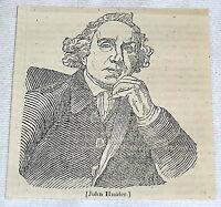 1832 magazine engraving ~ portrait of JOHN HUNTER, famous surgeon