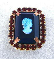 Vintage Style Czech ALL Glass Rhinestone Pin Brooch #T180 - SIGNED