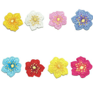Cute Flower Embroidery Patch Iron/Sew On Sticker Applique DIY Clothes Bags Decor