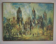 "Jack Laycox ""Sunday Afternoon"" Print on Canvas City Scene Mid-Century Vtg"