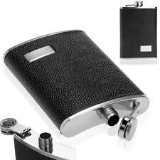 9oz Black Stainless Steel Drink Wine Liquor Alcohol Hip Flask Leather Pocket New