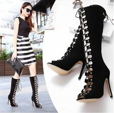 Unbranded Knee High Boots Lace Up Solid Shoes for Women