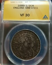 GREAT BRITAIN, WILLIAM & MARY -  1/2 CROWN 1689 VF 30 ANACS