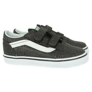 VN0A344KVIQ1 VANS Old Skool V Glitter Stars (Black) Toddler Shoes Size 4.5