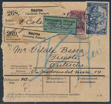 DP Türkei 14 Piaster Reichspost MiF Paketkarte nach Triest 1904 Attest (S16968)
