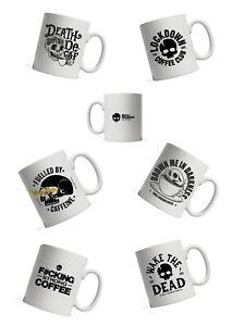 KipSkull Crusher Coffee Mug Death Before Decaf, Wake The Dead, Lockdown Coffee