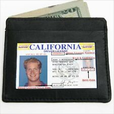 BLACK MEN's LEATHER THIN SLIM Wallet Holder Money Credit Card ID Window New