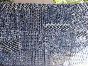 Hand Block Print Kantha Quilt Patchwork Cotton Bedspread Queen Indigo Bedding