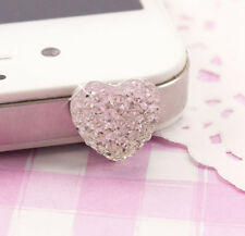 Cute Silver Sparkle Heart UNIVERSAL Headphone Dust Plug Kawaii Kitsch UK SELLER