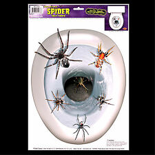 Gothic Halloween Prop-SPIDERS TOILET TOPPER-Tattoo Window Cling Decal Decoration